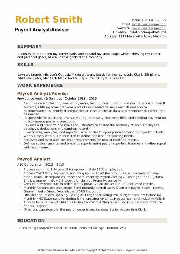 Payroll Analyst/Advisor Resume Model