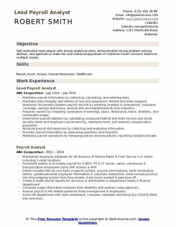 Lead Payroll Analyst Resume Example