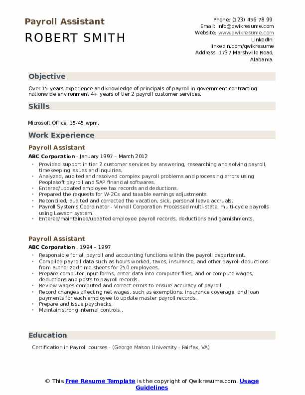 Payroll Assistant Resume Format