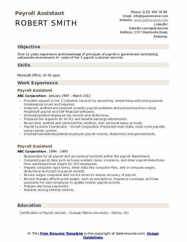 Payroll Assistant Resume Model