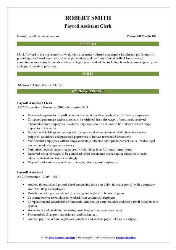 Payroll Assistant Clerk Resume Example
