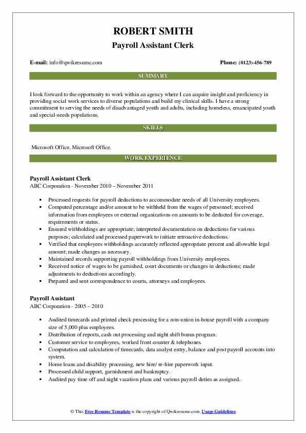Payroll Assistant Clerk Resume Model