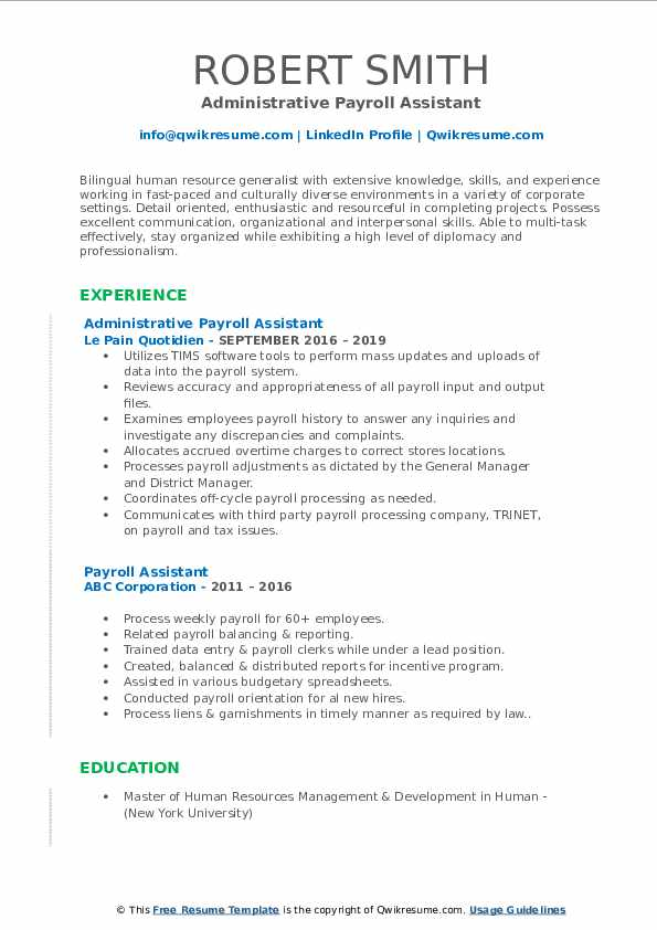 Administrative Payroll Assistant Resume Format
