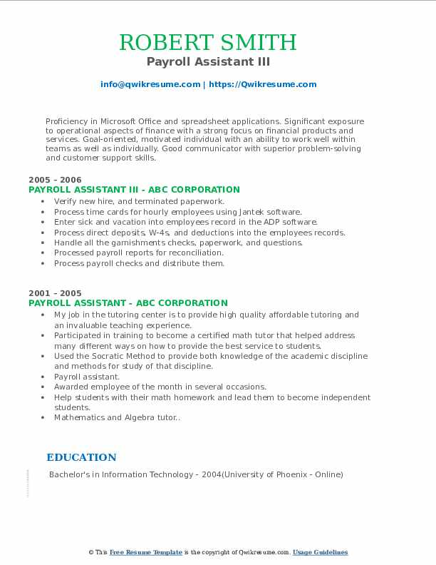 Payroll Assistant III Resume Example