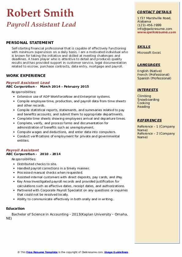 Payroll Assistant Lead Resume Example