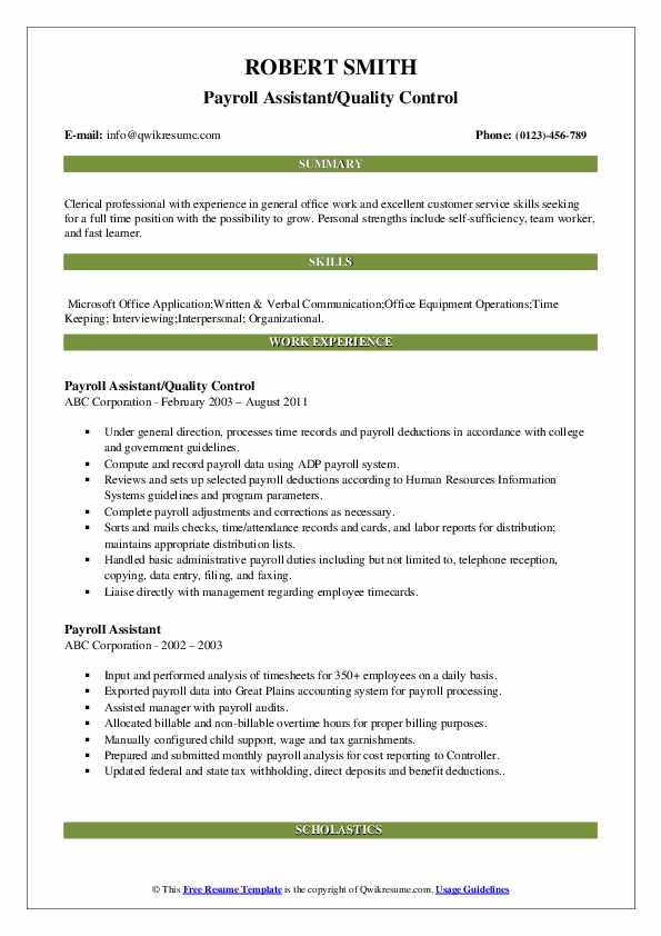 Payroll Assistant/Quality Control Resume Sample