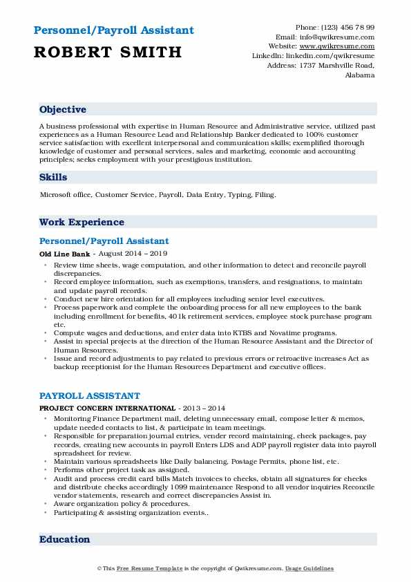 Personnel/Payroll Assistant Resume Example