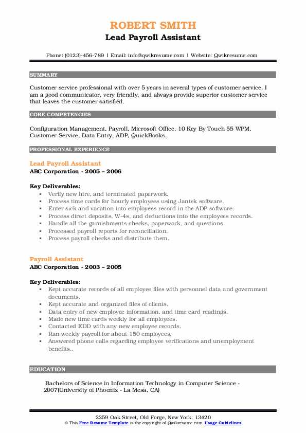 Lead Payroll Assistant Resume Model