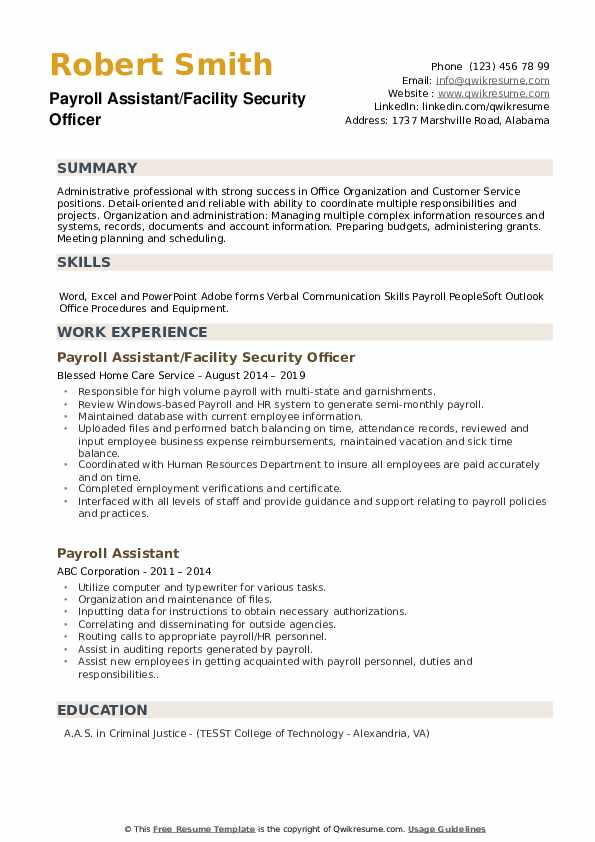 Payroll Assistant/Facility Security Officer  Resume Model