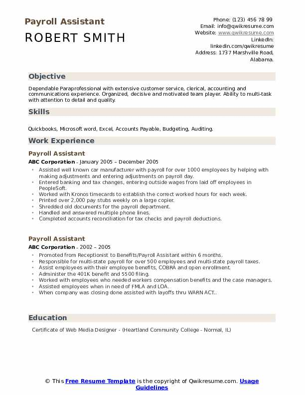 Payroll Assistant Resume example