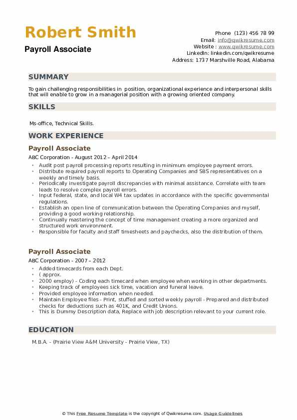 Payroll Associate Resume example