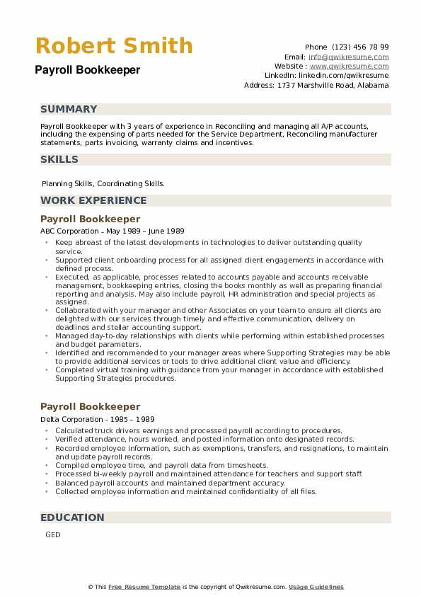 Payroll Bookkeeper Resume example