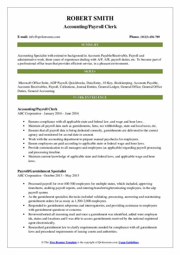 Accounting/Payroll Clerk Resume Example