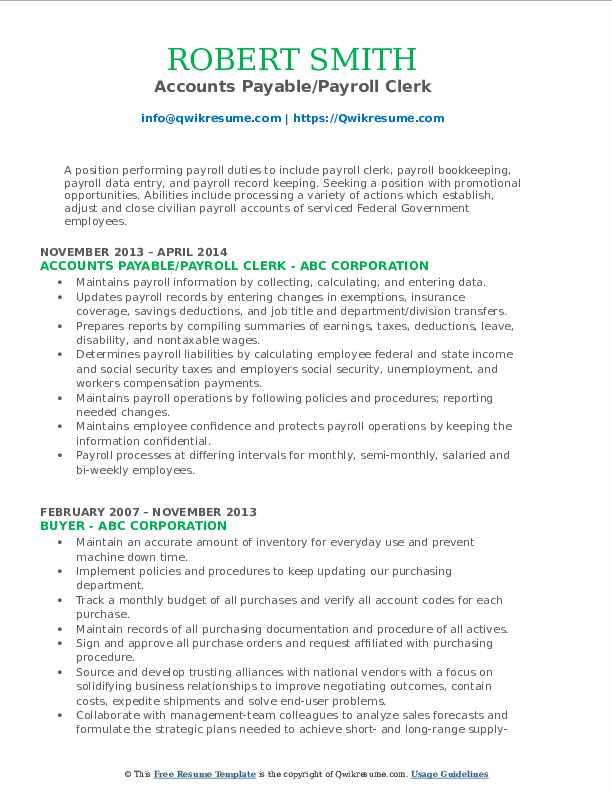Accounts Payable/Payroll Clerk Resume Template