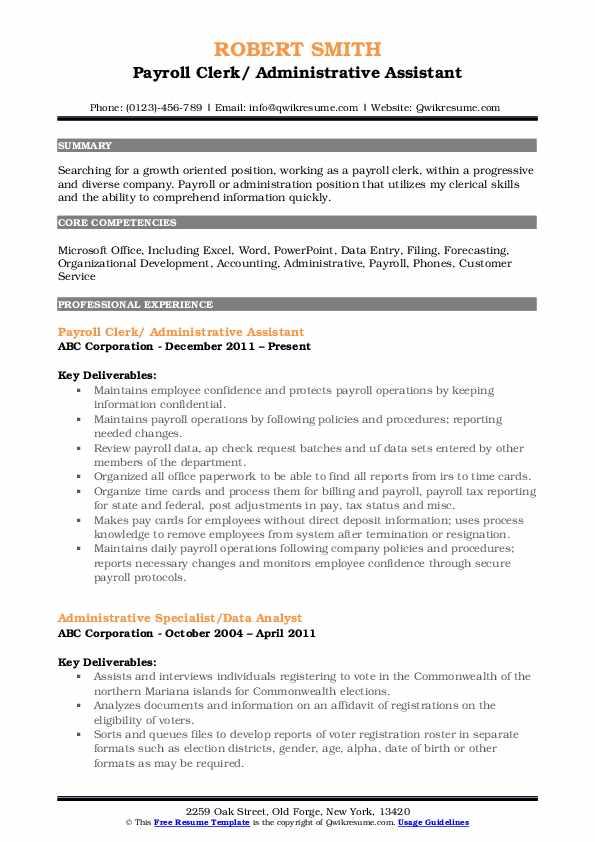 Payroll Clerk/ Administrative Assistant Resume Format