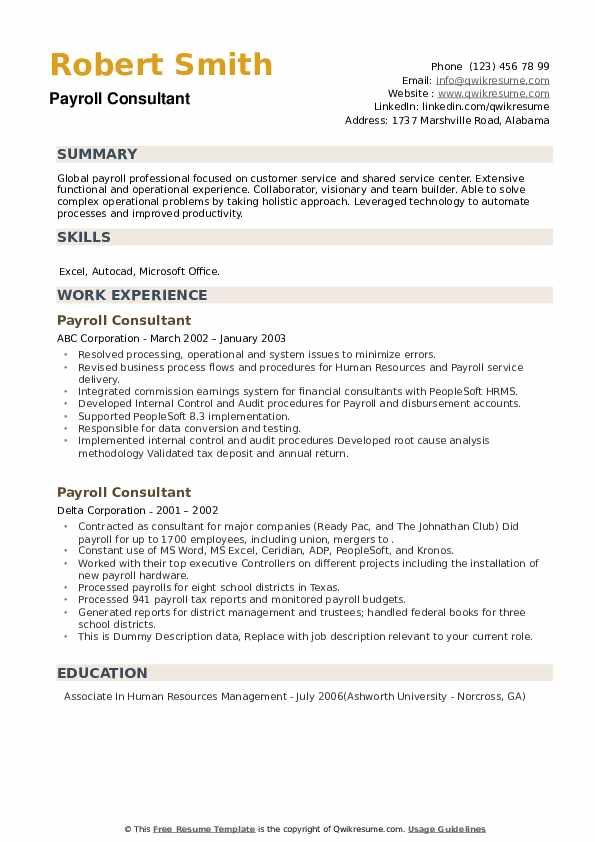 Payroll Consultant Resume example