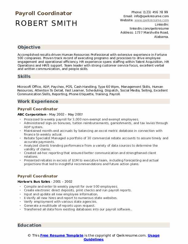 resume for payroll coordinator