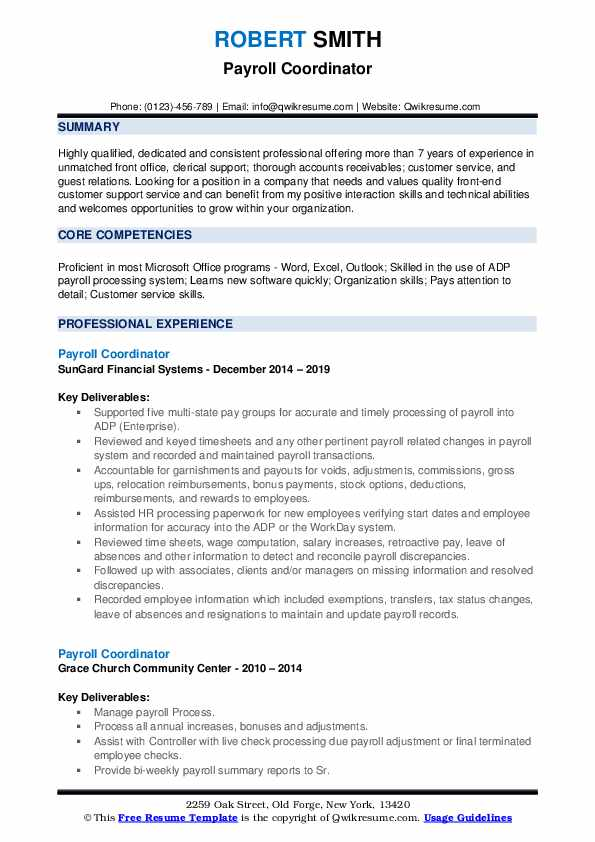Payroll Coordinator Resume Samples | QwikResume