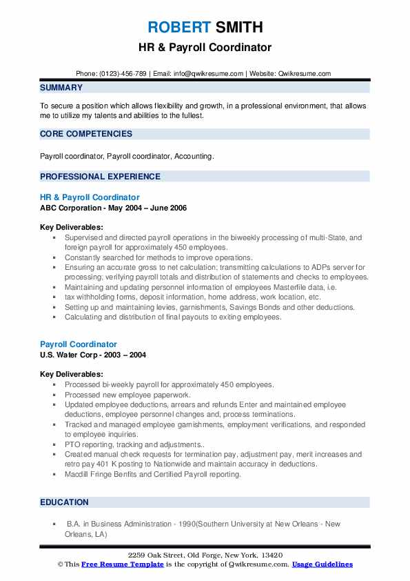 Payroll Assistant/Freight Billing Resume Sample