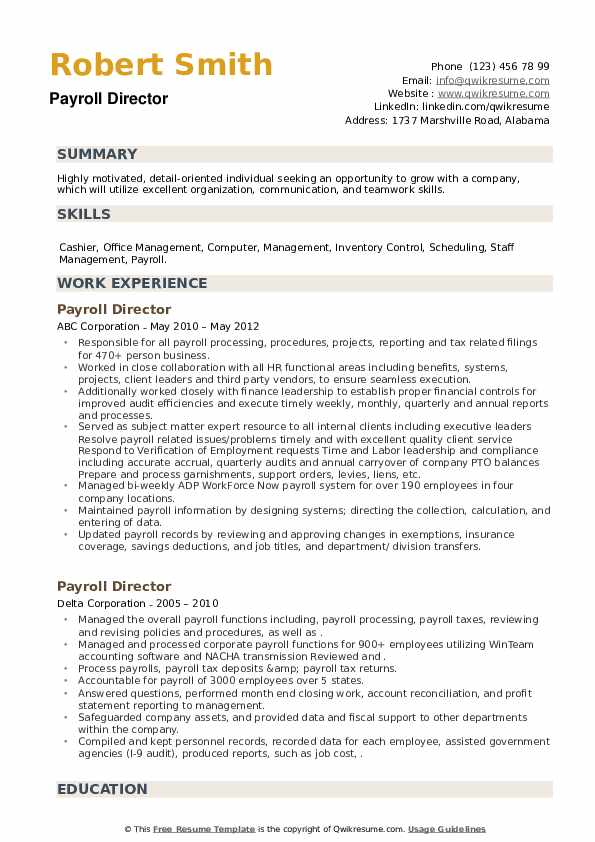 Payroll Director Resume example
