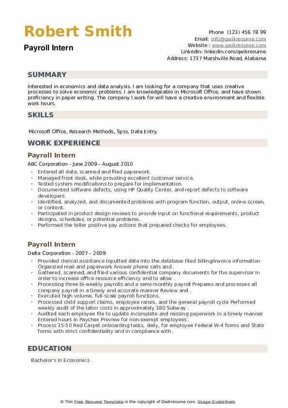 Payroll Intern Resume example