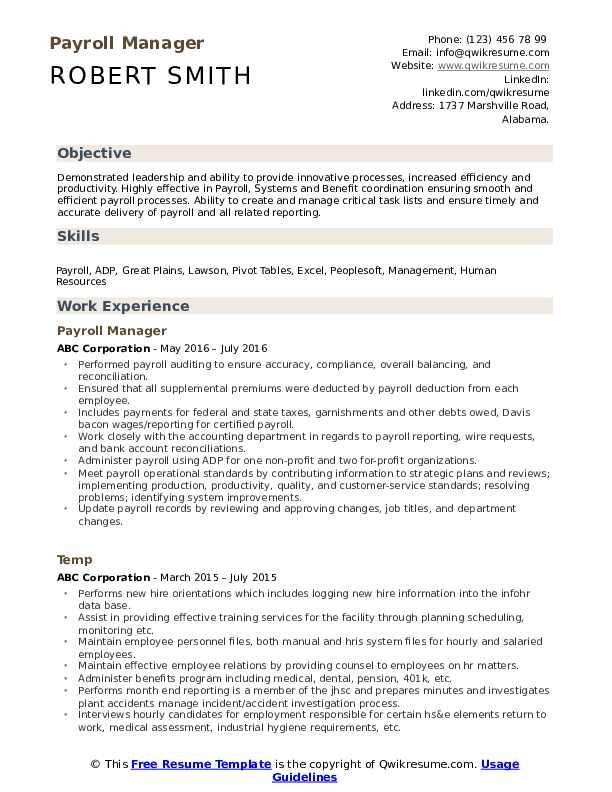 payroll manager resume samples