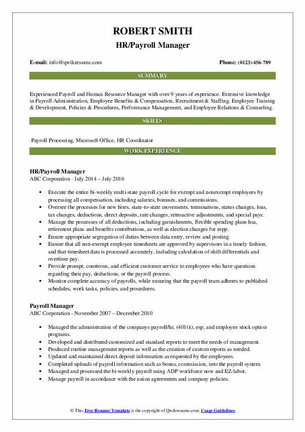 Payroll Manager Resume Samples | QwikResume