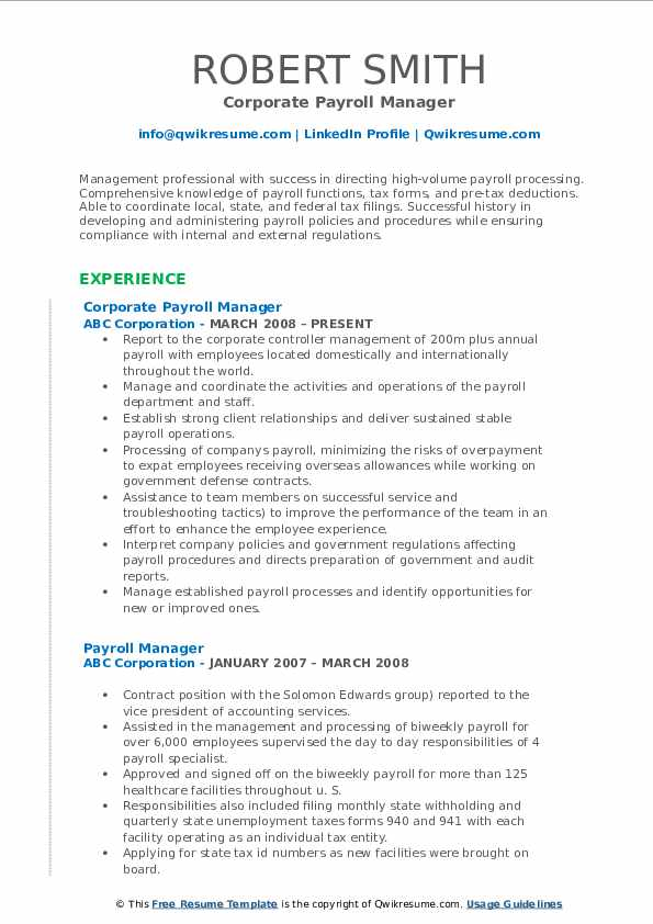 Corporate Payroll Manager Resume Template