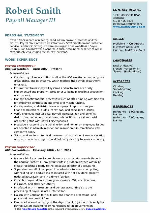 Payroll Manager III Resume Format