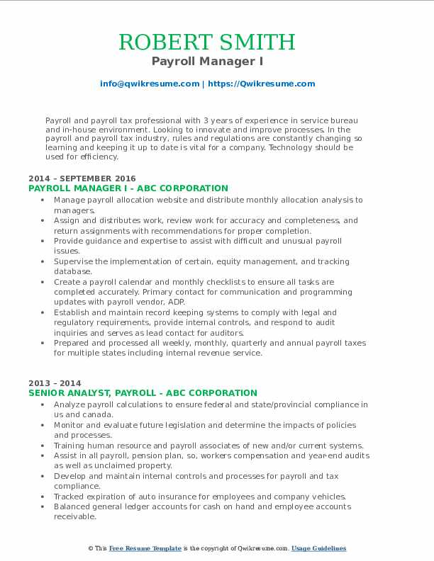 payroll manager resume samples