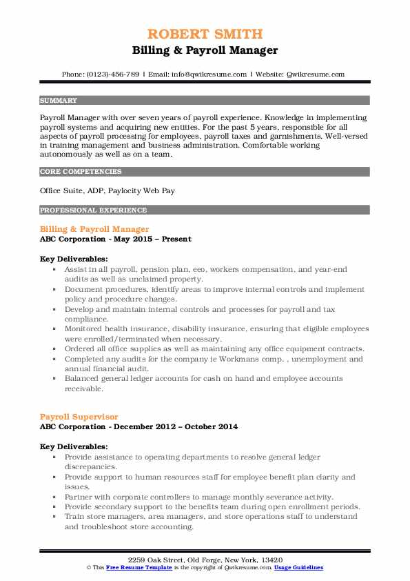 Billing & Payroll Manager Resume Template