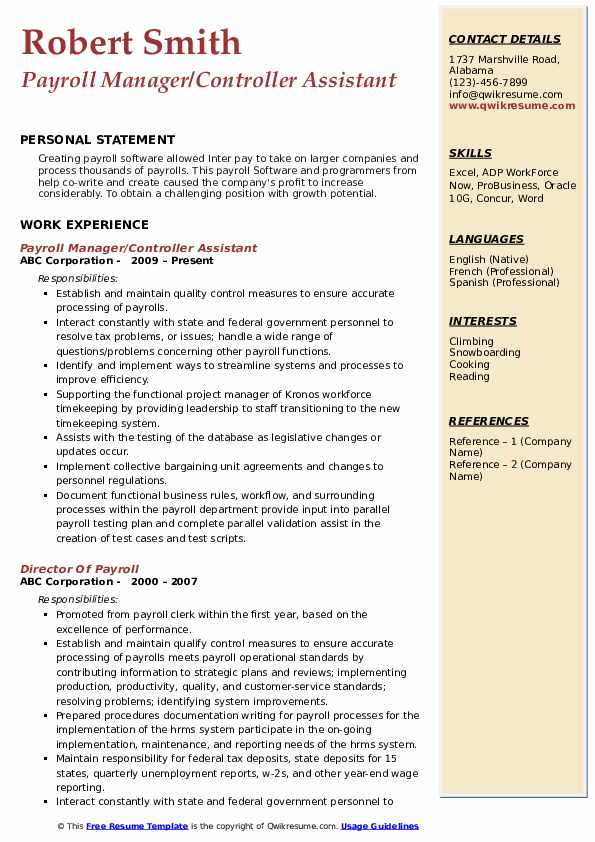 Payroll Manager/Controller Assistant Resume Sample