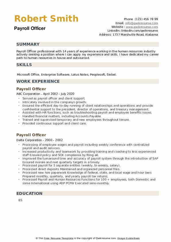 Payroll Officer Resume example