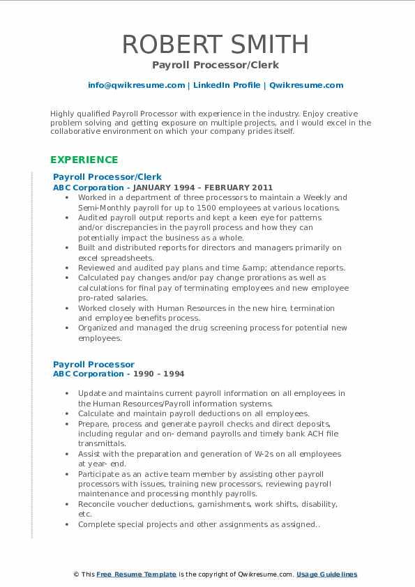 Payroll Processor/Clerk Resume Sample