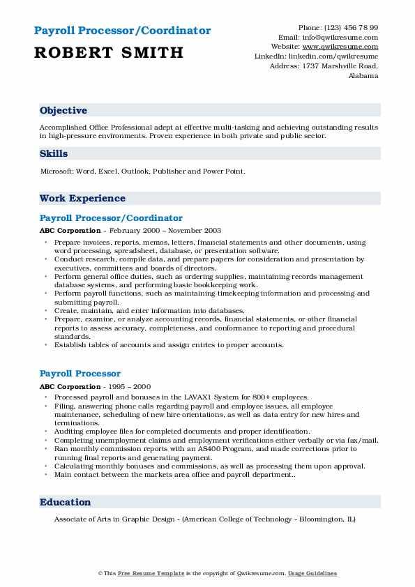 Payroll Processor/Coordinator Resume Format