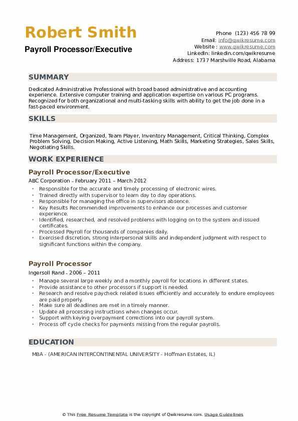 Payroll Processor/Executive Resume Template