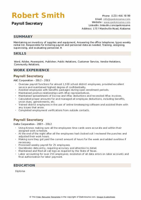 Payroll Secretary Resume example