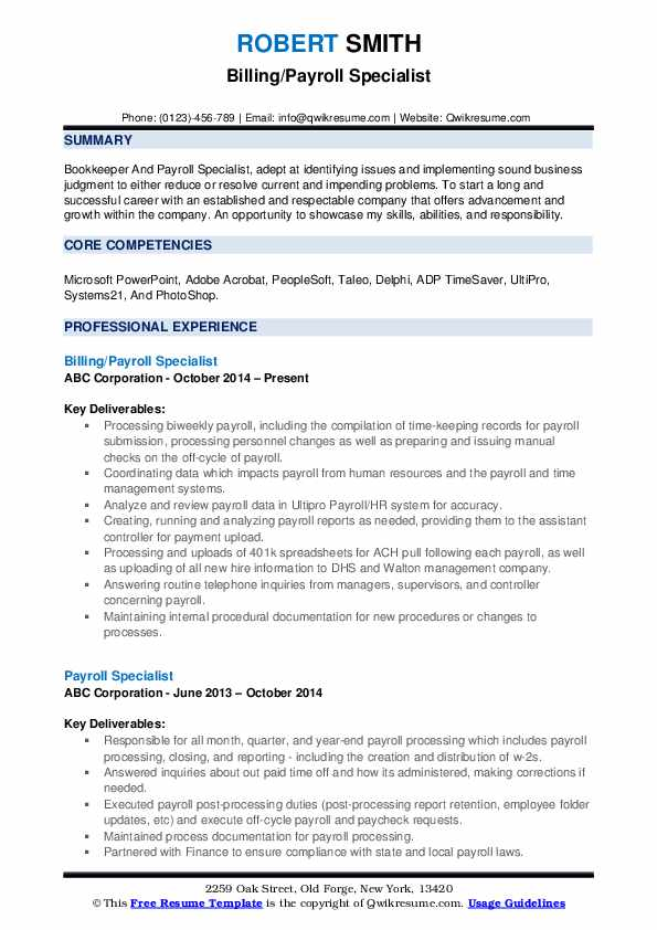 Billing/Payroll Specialist Resume Example