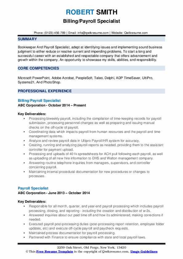 Billing/Payroll Specialist Resume Sample