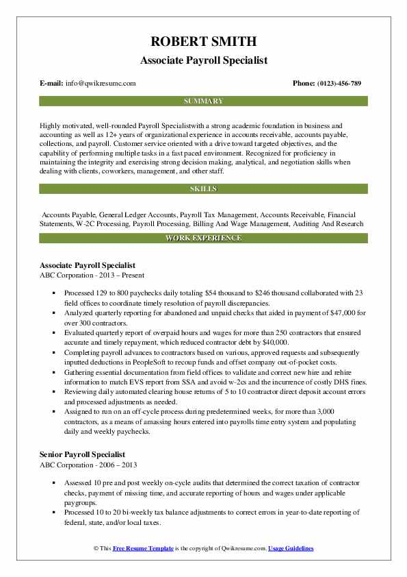 Associate Payroll Specialist Resume Sample