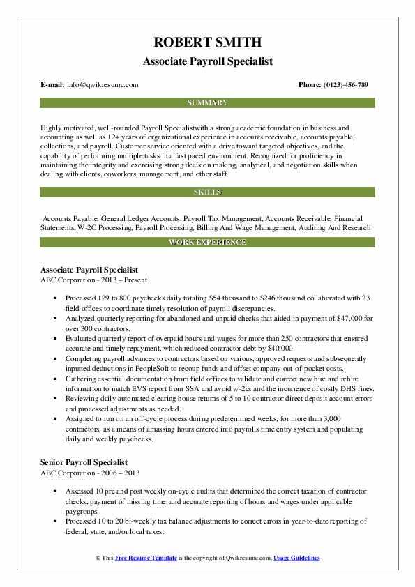 Associate Payroll Specialist Resume Format