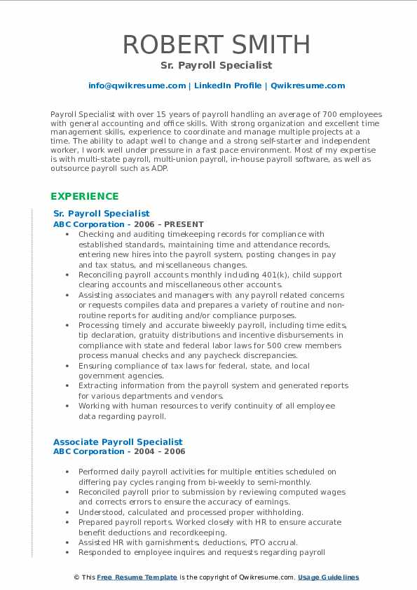 Sr. Payroll Specialist Resume Template
