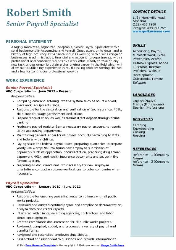 Senior Payroll Specialist Resume Example