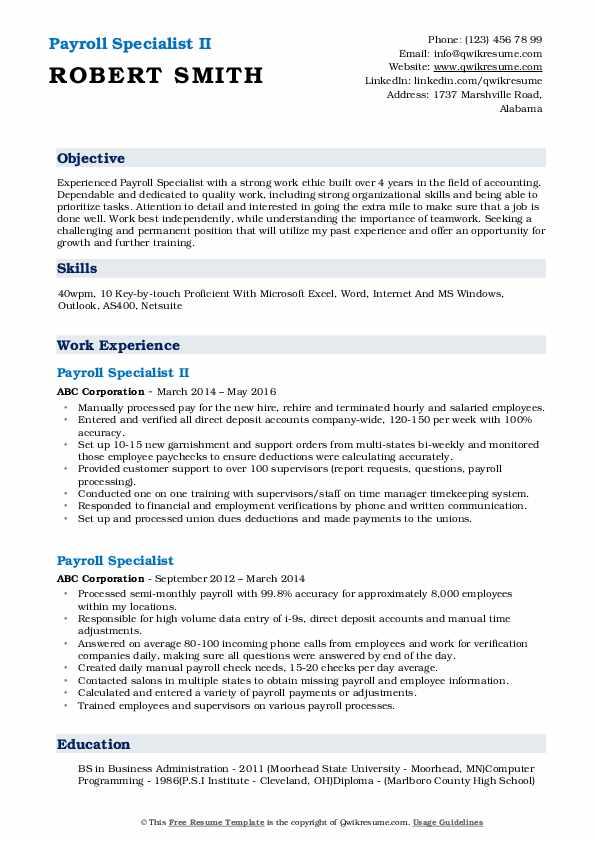 Payroll Specialist II Resume Format