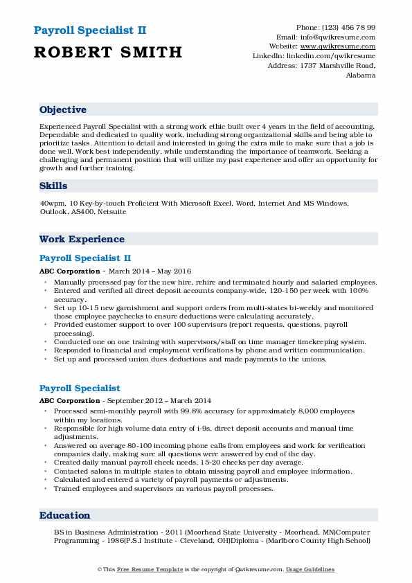 Payroll Specialist II Resume Model