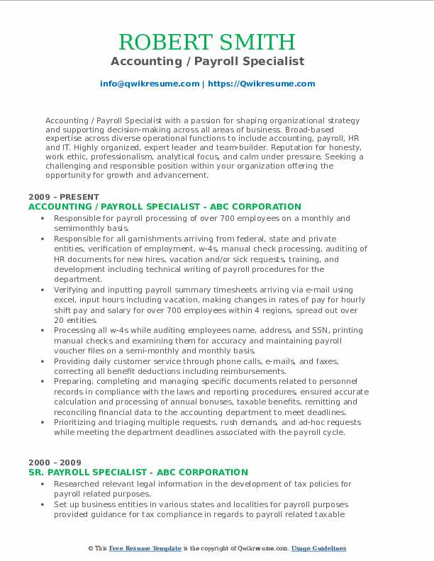 Accounting / Payroll Specialist Resume Model