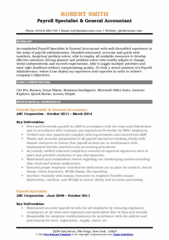 Payroll Specialist & General Accountant Resume Example