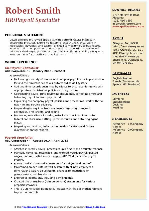 Payroll Specialist Resume Samples | QwikResume