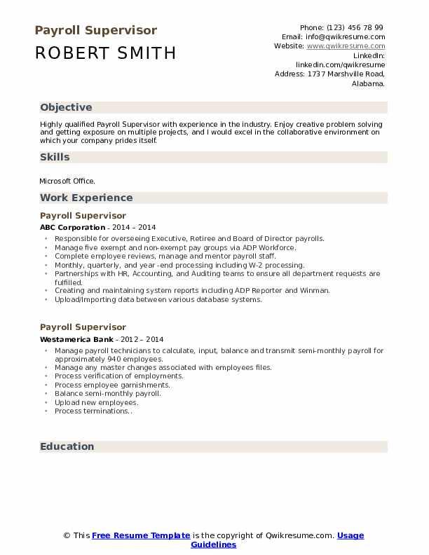Payroll Supervisor Resume Sample