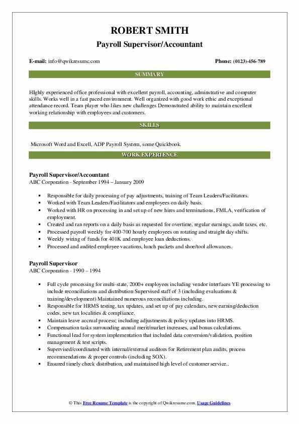 Payroll Supervisor/Accountant Resume Example